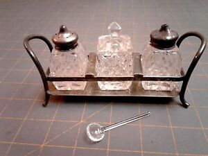 Silver Plate Condiment Set With Tray Salt Oil Mustard Spoon Antique B
