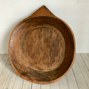 Antique Large Treen Bowl Hand Carved From One Piece Wood One Handle
