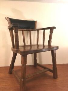Vintage Library Lawyers Solid Oak Armchair Leather Upholstered Backrest