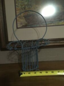 Vintage Blue Rustic Rusty Wire Basket With Handle