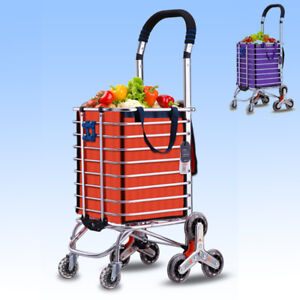 New 2 Color Shopping Grocery Cart Folding Laundry Basket Stair Climb Stylish Wcv