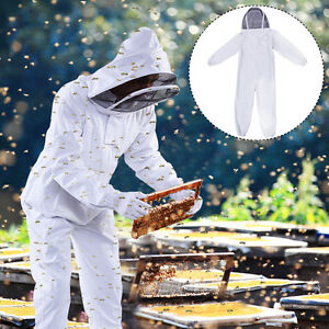 2x Professional Cotton Full Body Beekeeping Suit W Supporting Veil Hood Large