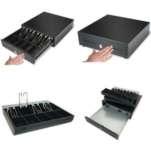 Cash Drawer 13inch Compact Black Manual Push Open 4 Bill Coin Tray