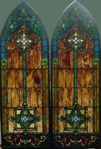 Pr Antique American Arched Stained Glass Windows In Bronze Frames
