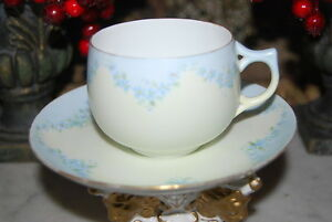 Early Rosenthal Germany Hand Painted Blue Flower Garland Coffee Tea Cup