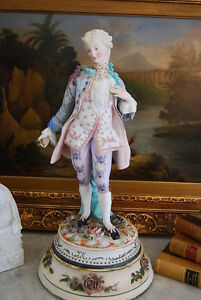 Wonderful Early Large Parian Bisque Hand Painted Male Figurine In Period Dress