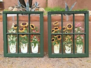 Pair Antique 6 Pane Glass Windows Frames Painted Sunflowers Signed Wood Sashes