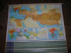 Vintage Aj Nystrom Wall Map World History School Pull Down 11 Layers