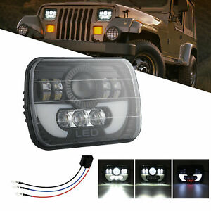 7x6 5x7 90w Led Headlight Halo Drl For 86 95 Jeep Wrangler Yj Cherokee Xj Chevy
