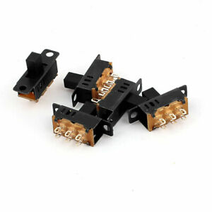 5pcs Dpdt 3 Position 6 Terminals Panel Mount Horizontal Slide Switch