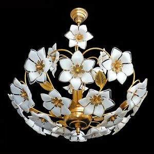 Vintage Mid Century Italian Murano Flower Venini Art Glass Gilt Brass Chandelier