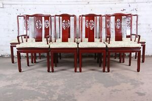 Vintage Carved Solid Rosewood Chinese Dining Chairs Set Of Ten