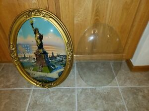 Statue Of Liberty Reverse Painting On Convex Oval Glass Frame 23 X 16
