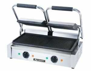 Adcraft Sg 813 Commercial Panini Press Cast Iron Grooved Plates 120 Volts