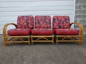 Vintage Mid Century Modern Paul Frankl Era 1950s Tiki Rattan 3 Chairs Sofa Couch