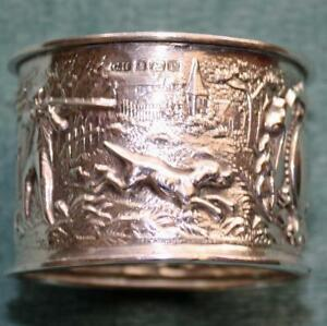Antique Hunting Scene All Around Sterling Napkin Ring Hallmarked