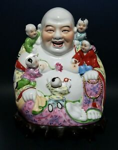 Antique Chinese Famille Rose Porcelain Laughing Buddha Children Qing On Stand