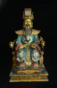 Chinese Bronze Dragon Robe The Jade Emperor The Supreme Deity Of Taoism Statue