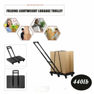 Extendable Hand Trolley 6 Wheel Flat Luggage Cart With 3 fold Handle Black Vp