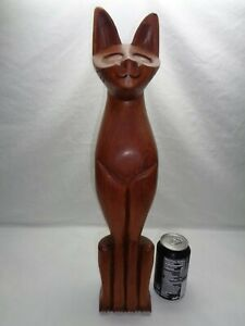 Vtg Teak Cat Carved Sculpture Mcm Siamese Danish Modern Tiki Witco Lounge Decor