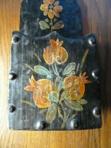 Vintage Hanging Wood Box Wall Pocket Painted Flowers Letters Candles Folk Art