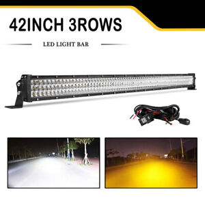 Cree Tri Row 42inch 2340w Led Light Bar Spot Flood Amber White Dual Colors 40