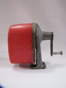 Vintage Pencil Sharpener Apsco Midget Desk wall Mount Red Vintage 1950s