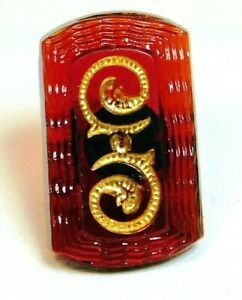 Antique Ruby Red Glass Button Incised Gold Swirls Rectangle Metal Loop Shank A3