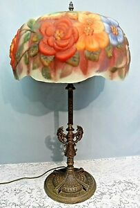 Vtg Pairpoint Style Reverse Painted Puffy Butterflies Roses Brass Table Lamp
