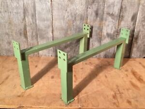 Pair Of Vtg Industrial Factory Shop Metal Legs Steampunk Coffee Table Base Stand