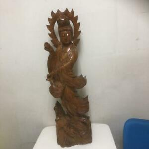 Japanese Buddhist Statues Wooden Sculpture 93 0 Cm Vintage Very Rare F S G2