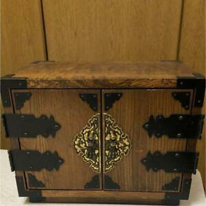 Japanese Small Wooden Chest Of Drawers Tansu 26 5 Cm With Door Vintage F S G1