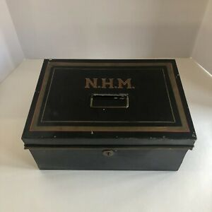 Vtg Metal Painted Bankers Cash Box Black Gold Initials Missing Key