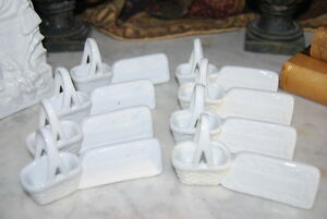 Magnificent Vintage Set Eight Salts Name Place Holders Done In White Porcelain
