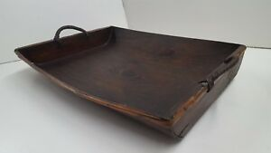 Large Antique Rectangle Shape Hand Made Wooden Bowl With Handles Very Old