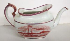 Antique Historical English Pink Luster Teapot American Ships W Flag Eagle