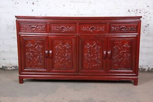 Vintage Chinese Carved Rosewood Sideboard Credenza