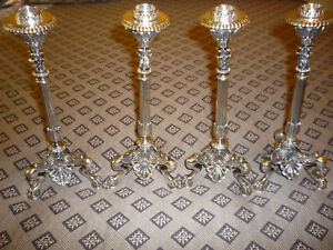 Magnificant Set Of 4 Elkington Co Sliver Plate Candlesticks Circa 1853