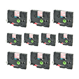 10 Pk Tz Tze M32 Red On Matt Clear Label Tape For Brother P touch H1051 2 12mm