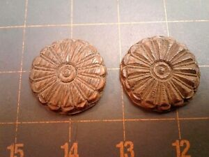 Pair Round Medallion Rosettes Furniture Trim Tiger Oak Antique Old Finish