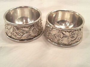 Pair S Kirk Son Floral Repousse Sterling Silver Open Salt Cellars 59