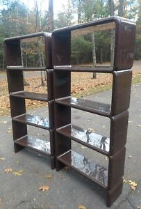 A Pair Of Brown Umbo Modular Shelf Unit Bookcase Mcm 2 Acrylic Shelving Units