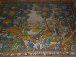 Antique French Tapestry Aubusson Wall Hanging Verdure Chantilly