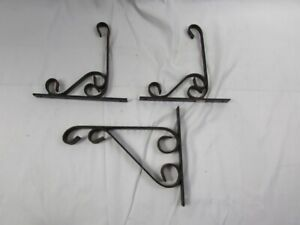 Lot Of 3 Vintage Plant Hangers Wrought Iron Decor Iron Wall Brackets