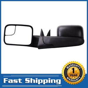 Pair Manual Tow Mirrors For 94 01 Dodge Ram 1500 94 02 2500 3500 Pickup