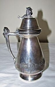 Antique Meriden Silver Plate Figural Syrup Pitcher