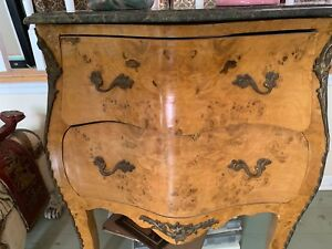Small Antique Marble Top Inlaid French Bombe Chest