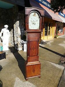 Outstanding English Oak Tall Case Clock With Inlay 19th Century