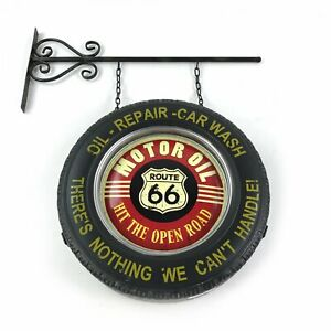 Route 66 Double Sided Light Up Hanging Tire Metal Sign Street Hot Rod Muscle Ra
