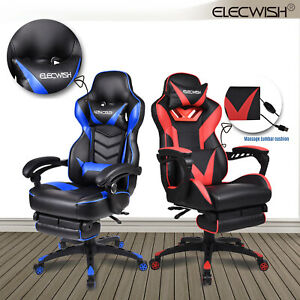 Ergonomic Computer Gaming Chair Racing Recliner High Back Office Chair Footrest